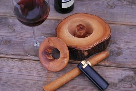 Runder Aschenbecher aus Olivenholz mit Deckel, Windaschenbecher Ascher Holz