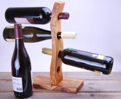 Flaschenhalter Holzständer Weinregal Olivenholz Flaschenständer, bis 4 Flaschen