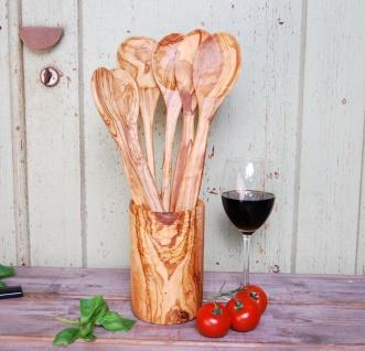 Utensilien Behälter Halter Becher Küchenhelfer Olivenholz, Löffelhalter Holz