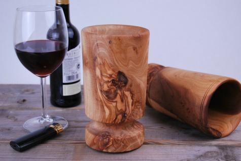 Weinbecher Holzbecher Trinkbecher Wein Becher Weinkelch Kelch Holz Olivenholz