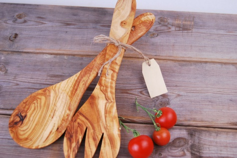 XXL Salatbesteck aus Olivenholz Besteck Salat Holz Holzbesteck Salathände Löffel