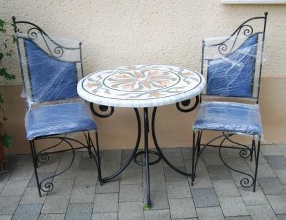 Mosaik Tisch mit 2 Stühlen, Marmorplatte, Sitzgruppe aus Schmiedeeisen D.80cm