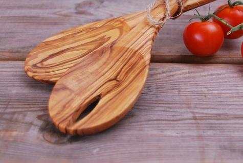 XL Salatbesteck aus Olivenholz, Besteck, Holzbesteck, Spaghettilöffel 2-Teilig