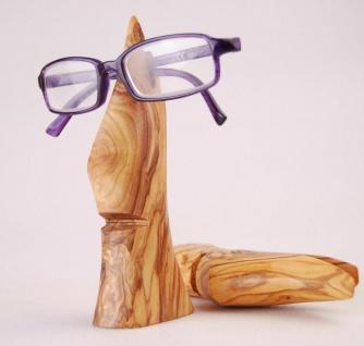 Edler Brillenhalter aus Olivenholz, Brillenwichtel Brillenständer Brillenablage