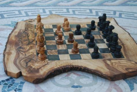 Schach Schachbrett Schachspiel Schachtisch, Olivenholz Holz Brett