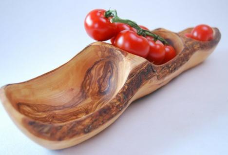 3er Schale Dipschale Olivenholz 3er Fach Holzschale Nußschale Obstschale 40cm