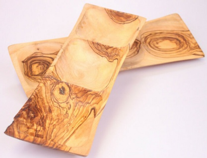 3er Schale Dipschale aus Olivenholz 3er Fach Holzschale Olivenschale Nußschale