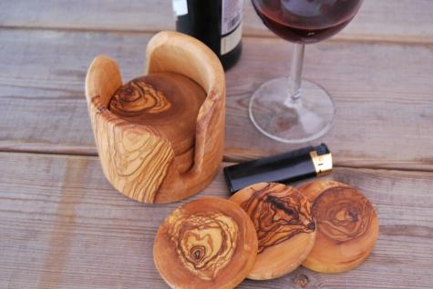 6er Set Untersetzer aus Olivenholz mit Halterung Glasuntersetzer Holzuntersetzer