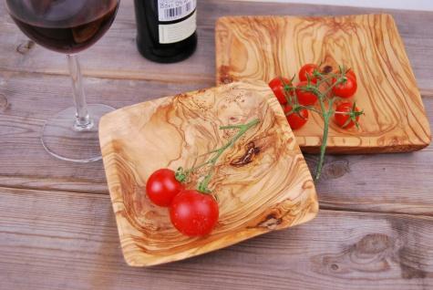 Set 2er Schalen aus Olivenholz Holzschale Schälchen Schale Viereckig Holz Teller