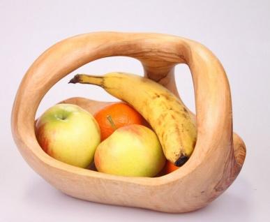 Holzschale Obst Schale Gemüseschale aus Olivenholz mit Griff Holz Obstkorb 25cm