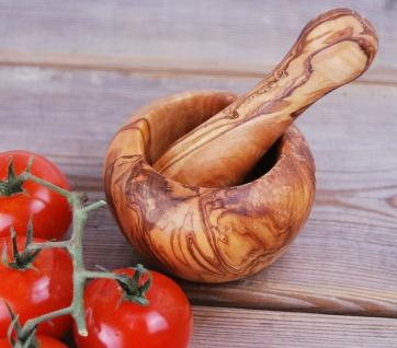 Mörser mit Stößel aus 100% Olivenholz - Küchenmörser Holzmörser Gewürzmörser