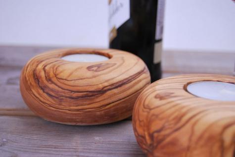 Teelichthalter Olivenholz Tischdekoration Kerzenhalter Ständer Holzständer rund