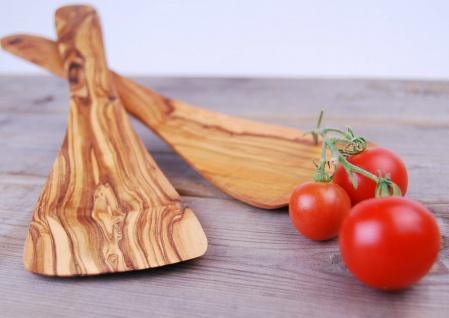 Pfannenwender gebogen aus Olivenholz, hitzebeständig, für Linkshänder ca. 30cm