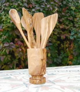 Set 6-tlg. Löffel Pfannenwender Utensilien Becher Küchenhelfer Olivenholz Koch