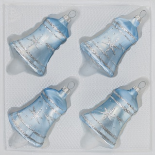4 tlg. Glas-Glocken Set in Ice Blau Silber Komet