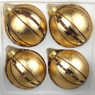 """4 tlg. Glas-Weihnachtskugeln Set 12cm Ø in """" Goldener Traum Spezial"""" - Goldene-Glanz & Matt Ornamente"""