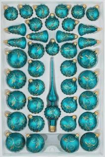 "39 tlg. Glas-Weihnachtskugeln Set in "" Ice Petrol-Türkis Goldene Ornamente"""