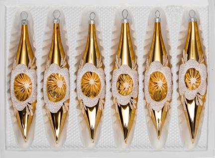 6 tlg. Glas-Zapfen Set in Hochglanz Vintage Gold