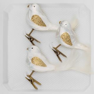 "3 tlg. Glas Vogel Set in "" Ice Weiss Gold"""
