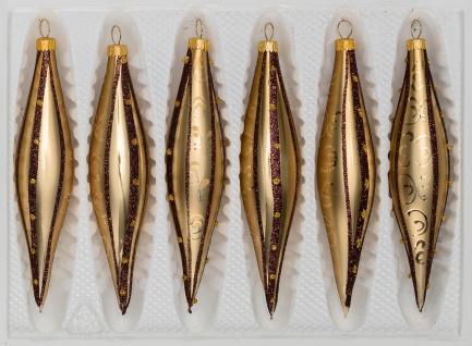 6 tlg. Glas-Zapfen Set in Goldener Traum Spezial - Goldene-Glanz & Matt Ornamente