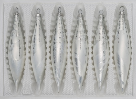 6 tlg. Glas-Zapfen Set in Ice Weiss Silber Regen