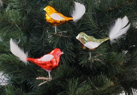 3 tlg. Glas-Vögel Set in Hochglanz Vintage Style