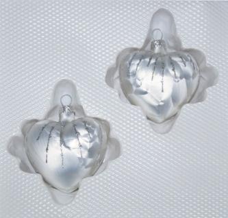 """2 tlg. Glas-Herzen Set in """" Ice Weiss Silber"""" Regen"""