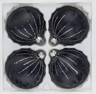 """4 tlg. Glas-Weihnachtskugeln Set 10cm Ø in """" Ice Schwarz Silber"""" Regen"""