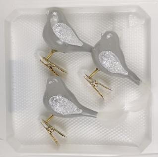 3 tlg. Glas Vogel Set in Hochglanz Modern Grau Weiss