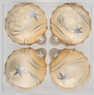 "4 tlg. Glas-Weihnachtskugeln Set 12cm Ø in "" Ice Champagner Silber"" Komet"