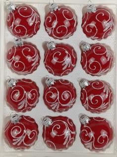 12 tlg. Glas-Weihnachtskugeln Set in Hochglanz Modern Rot Weisse Ornamente