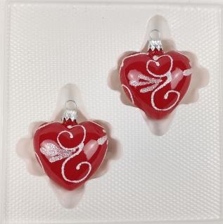 2 tlg. Glas-Herzen Set in Hochglanz Modern Rot Weisse Ornamente