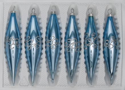 """6 tlg. Glas-Zapfen Set in """" Hochglanz-Blau-Silberne-Ornamente"""""""
