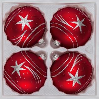 "4 tlg. Glas-Weihnachtskugeln Set 12cm Ø in "" Classic Rot Silber"" Komet"