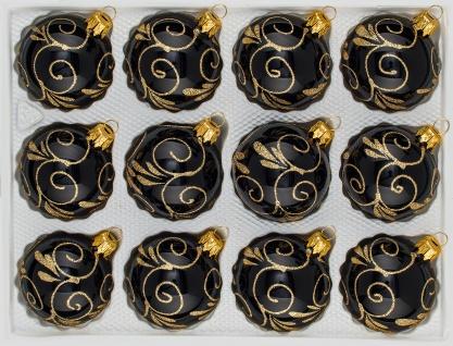 12 tlg. Glas-Weihnachtskugeln Set in Hochglanz Schwarz Goldene Ornamente