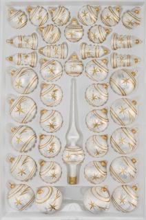39 tlg. Glas-Weihnachtskugeln Set in Ice Weiss Gold Komet
