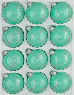 12 tlg. Glas-Weihnachtskugeln Set in Hochglanz Modern Mint Silberne Ornamente