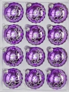 """12 tlg. Glas-Weihnachtskugeln Set in """" Hochglanz-Lila-Silberne-Ornamente"""