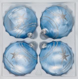 4 tlg. Glas-Weihnachtskugeln Set 12cm Ø in Ice Blau Silber Komet