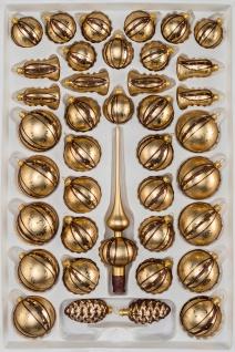39 tlg. Glas-Weihnachtskugeln Set in Goldener Traum Spezial - Goldene-Glanz & Matt Ornamente