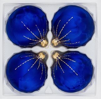 "4 tlg. Glas-Weihnachtskugeln Set 12cm Ø in "" Ice Royal Blau Gold"" Regen"