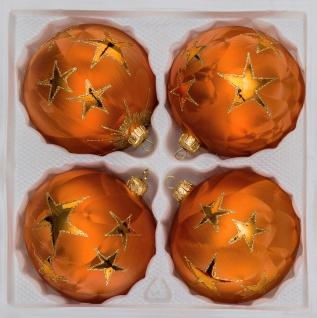 """4 tlg. Glas-Weihnachtskugeln Set 8cm Ø in """" Ice Orange Gold"""" Goldener Stern"""