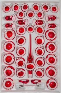 39 tlg. Glas-Weihnachtskugeln Set in Hochglanz Vintage Rot