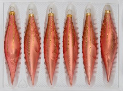 """6 tlg. Glas-Zapfen Set in """" Ice Lachs Gold"""" Regen"""