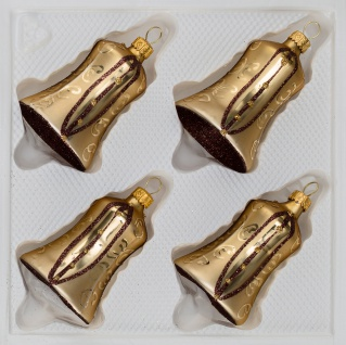 4 tlg. Glas-Glocken Set in Goldener Traum Spezial - Goldene-Glanz & Matt Ornamente