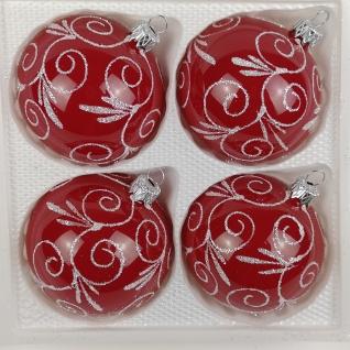 4 tlg. Glas-Weihnachtskugeln Set 12cm Ø in Hochglanz Modern Rot Weisse Ornamente