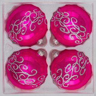 """4 tlg. Glas-Weihnachtskugeln Set 10cm Ø in """" Hochglanz-Pink-Silberne-Ornamente"""""""