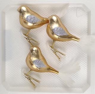 3 tlg. Glas Vogel Set in Classic Gold Silber