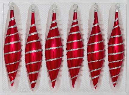 6 tlg. Glas-Zapfen Set in Hochglanz Rot Candy Silberne-Spiralen