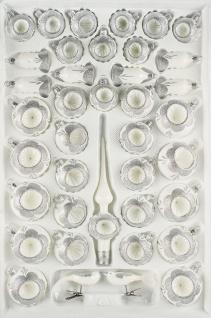 """39 tlg. Glas-Weihnachtskugeln Set in """" Hochglanz Vintage Classic Weiss Silber"""""""